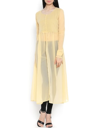 solid yellow georgette high slit kurta