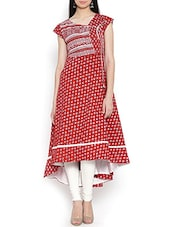 Red Block Printed Cotton Angrakha Kurta - By
