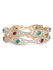 Colored Stone Embellished Bangle Set - By