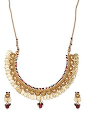 Golden Coin Attached Traditional Neckpiece Set - THE PARI