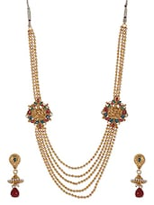 Multilayer Golden Beaded Stoned Neckpiece Set - THE PARI