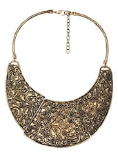 Filigree Pattern Antique Gold Statement Neckpiece - THE PARI
