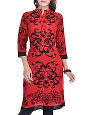Red, Black Rayon Regular Kurta - By