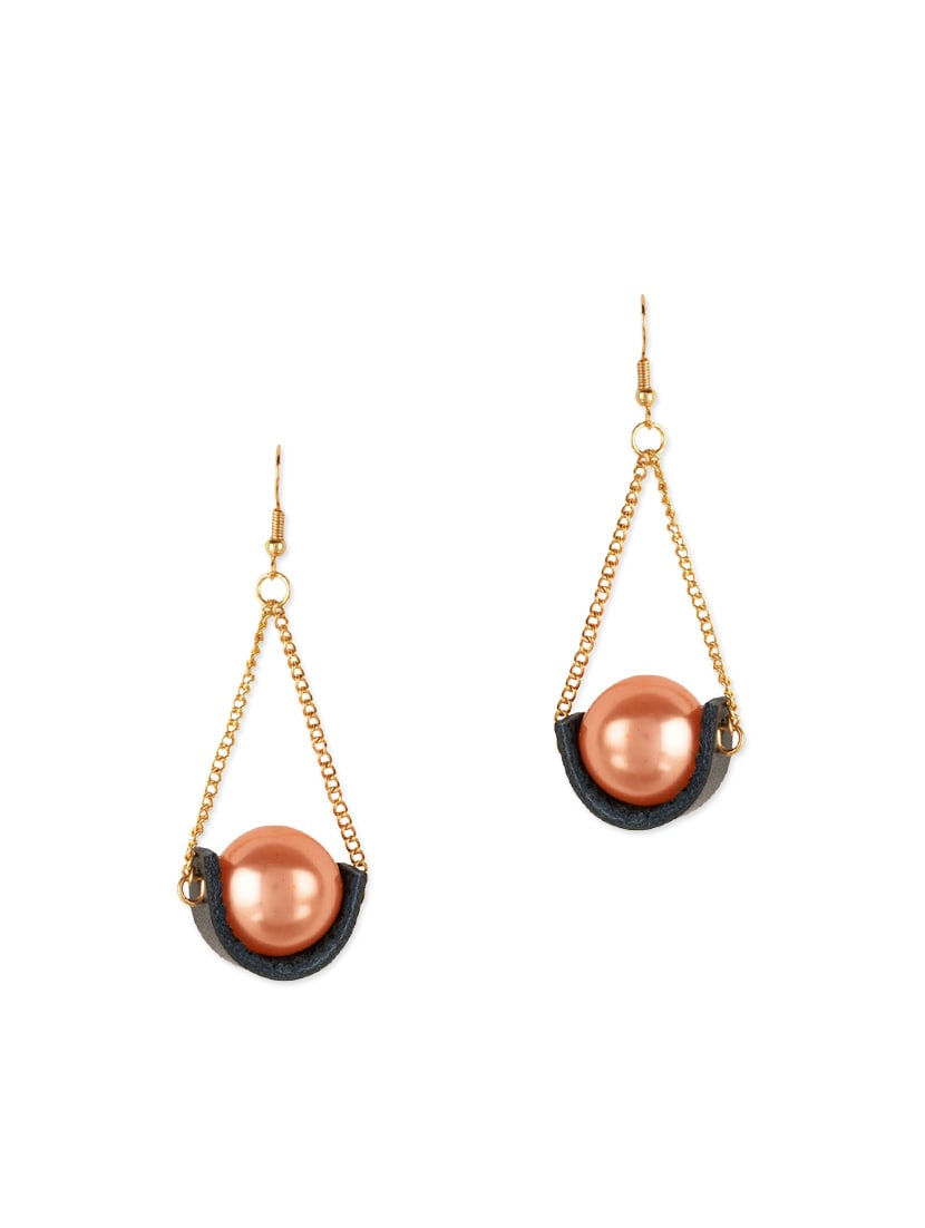 Peach, Grey, Gold Metal Drop  Earring - By