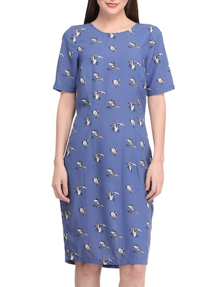 blue polyester shift dress