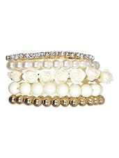 Gold Metallic And White Acrylic Bracelet - By