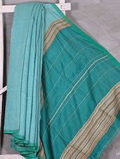 Hand Woven Bengal Cotton & Geecha Silk Saree - Attire Zone