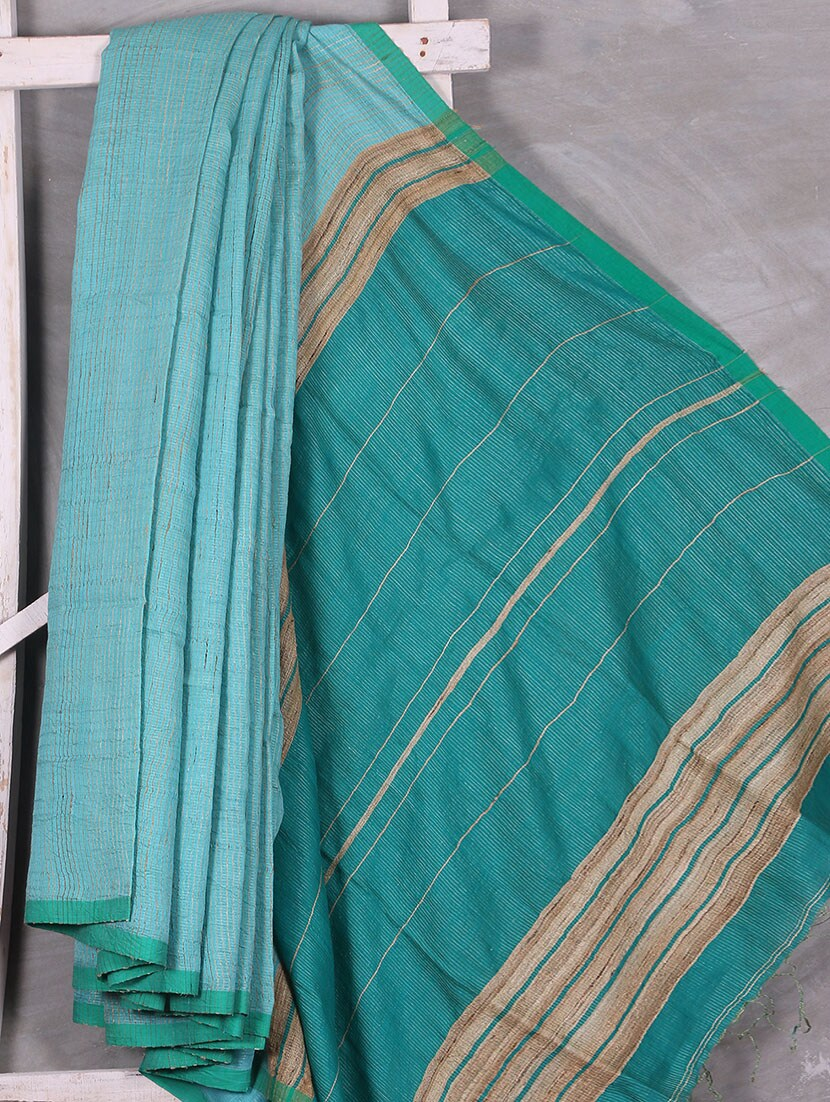Hand Woven Bengal Cotton & Geecha Silk Saree - Attire Zone