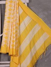 Yellow-white Hand Woven Bengal Cotton Saree - Attire Zone