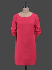 Pink Roll-up Sleeves Polyester Shift Dress - Oxolloxo