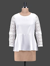 White Polyester Top With Lace Sleeves - Oxolloxo