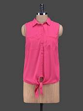 Pink Front Knot Tie-up Polyester Shirt - Oxolloxo