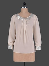 Shimmery Peter Pan Collar Georgette Top - Holidae