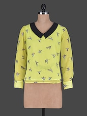 Contrasting Collar Bird Printed Long Sleeves Georgette Top - Holidae