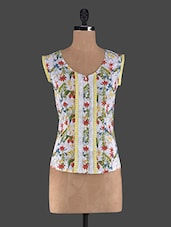 Sleeveless Round Neck Floral Print Cotton Top - Holidae