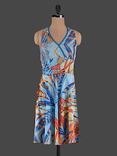 Overlapping Halter Neck Printed Crepe Dress - Holidae