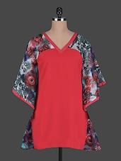 V Neck Bell Sleeves Printed Georgette Top - Holidae