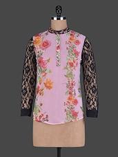 Long Lace Sleeve Floral Print Georgette Top - Holidae
