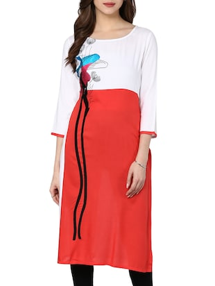 white and red colour block rayon kurta