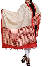 Red Triangle Block Print Khadi Cotton Dupatta - By