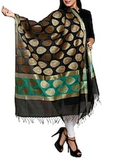 Black And Green Banarsi Handloom Dupatta With Golden Leaf - By