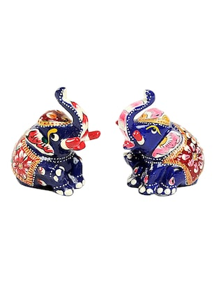 Meena Work Metal Sitting Baby Elephant- Set of 2