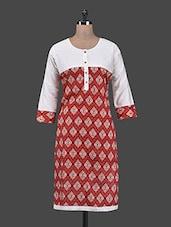 Round Neck Printed Cotton Kurta - Aadhunik Libaas