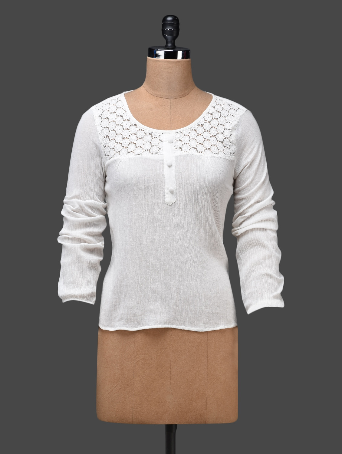 White Round Neck Lace Yoke Top - Shakumbhari