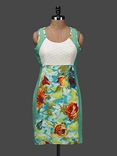 Round Neck Floral Print Rayon Dress - Shakumbhari