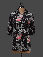 Black Floral Print Full Sleeves Shirt - Shakumbhari