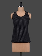 Black Polka Dots Sleeveless Cotton Top - 27Ashwood