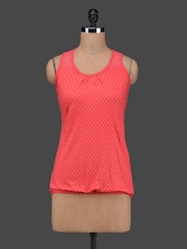 Coral Red Polka Dots Sleeveless Cotton Top - 27Ashwood