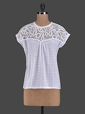 White Round Neck Schiffli Top - I AM FOR YOU