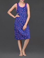 Stars Printed Round Neck Cotton Dress - Nuteez