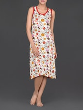 Sweets Printed Round Neck Cotton Dress - Nuteez