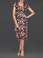 Short Sleeves Round Neck Sweets Print Cotton Dress - Nuteez