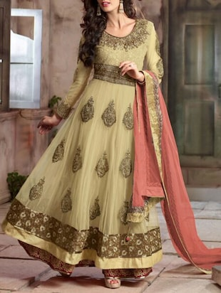 beige georgette semistitched suit