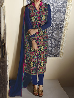 blue embroidered georgette unstitched dress material
