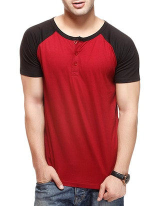 red cotton raglan tshirt