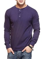 solid navy blue cotton t-shirt -  online shopping for T-Shirts