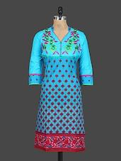 Blue Embroidered Floral Yoke Kurti - Drashti