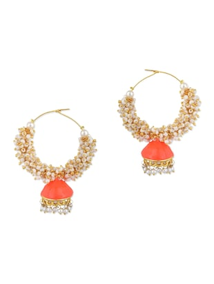 orange metal alloy, pearl beads, beads balli earring