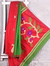 Paisley Border Jamdani Anchal Red Saree - Komal Sarees