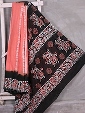 Peach Batik Printed Saree - Komal Sarees