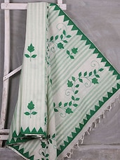 Green Floral With Leaf Aplique Work Saree - Komal Sarees