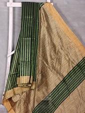 Green Striped Art Silk Saree - Komal Sarees