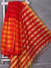 Red Woven Stripe Saree - Komal Sarees
