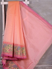 Floral Border Woven Cotton Blend Kota Saree - Komal Sarees