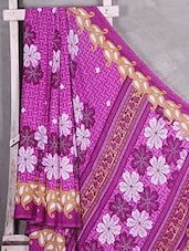 Purple Floral Printed Paisley Border Saree - Komal Sarees