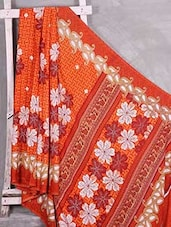 Orange Floral Printed Paisley Border Saree - Komal Sarees
